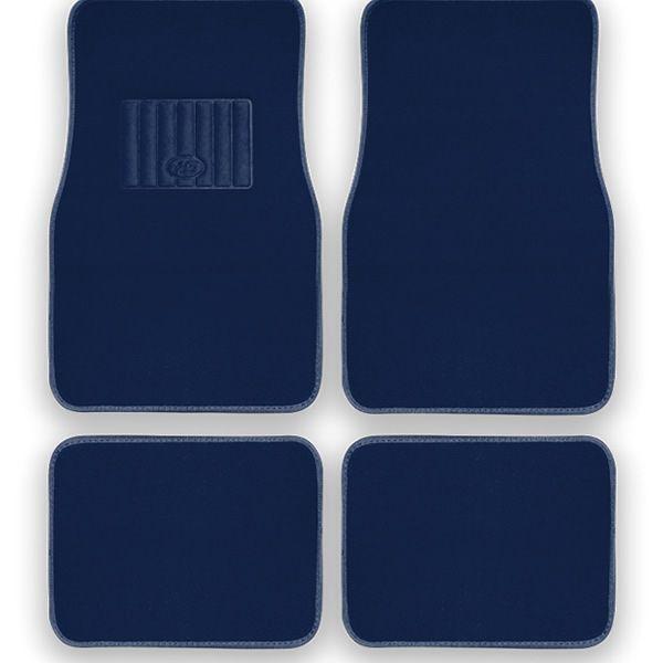 HS Plush Carpet Mats 4 Pcs Blue
