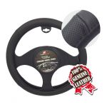 LARGE SIZE PERFORATED BLACK LEATHER STEERING WHEEL COVER