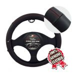 SMALL  BLACK W/RED STITCHING LEATHER STEERING WHEEL COVER