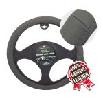 LARGE PERFORATED GREY LEATHER STEERING WHEEL COVER