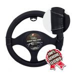 BLACK W/WHITE STITCHING PU LEATHER STEERING WHEEL COVER