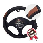 SMALL BLACK /BROWN PATCH  PU LEATHER STEERING WHEEL COVER