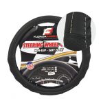 LARGE BLACK + WHITE STITCHING PU LEATHER STEERING WHEEL COVER