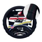 LARGE BLACK + RED STITCHING PU LEATHER STEERING WHEEL COVER
