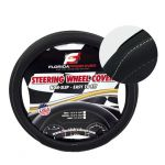 LARGE  SOLID/ PERFORATED + WHITE  STITCHING PU LEATHER STEERING WHEEL COVER