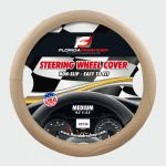 STEERING WHEEL COVER EMBOSSED BEIGE / WHITE  STITCHING