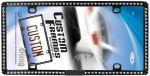 Custom Accessories 92854  Black Metal White Bling License Plate Frame