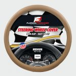 BEIGE/BEIGE  STITCHING    PU LEATHER STEERING WHEEL COVER