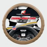 LARGE SOLID/PERFORATED BEIGE + BEIGE  STITCHES   PU LEATHER STEERING WHEEL COVER