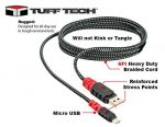 TUFF TECH 6 Ft Heavy Duty Braided Micro USB Cable 23394