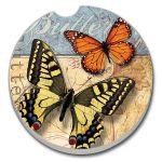 Yellow Swallowtail And Monarc  AUTO COASTER