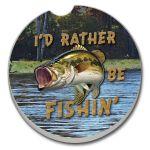I'D RATHER BE FISHIN'  AUTO COASTER