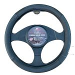 LARGE BLACK W/BLUE STITCHING PU LEATHER STEERING WHEEL COVER