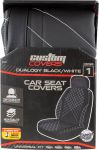 1PC DUALOGY  BLK/BLK WHITE STITCH Seat Cover Low Back