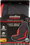 1PC TRILOGY  BLK/RED with RED STITCH Seat Cover 40397