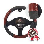 WOOD & GREY LEATHER STEERING WHEEL COVER