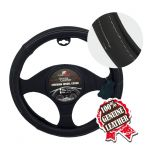 BLACK W/WHITE STITCHING LEATHER STEERING WHEEL COVER